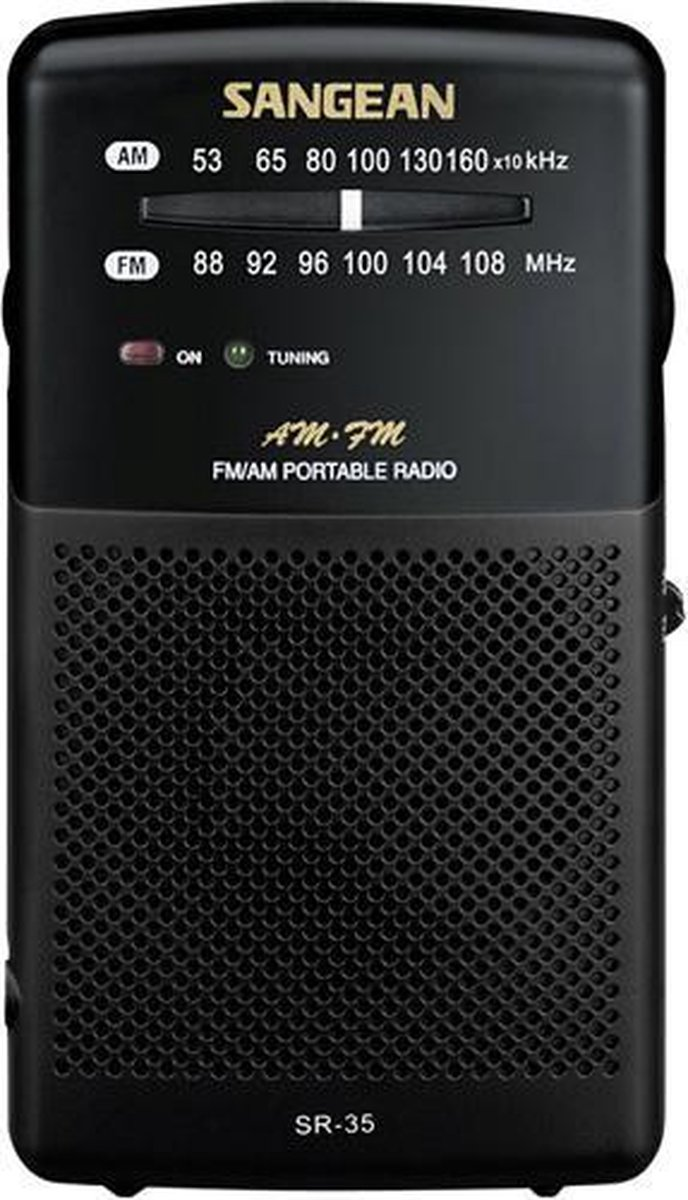 Sangean Pocket 100 - SR-35 - Zakradio met AM/FM op batterijen - Zwart