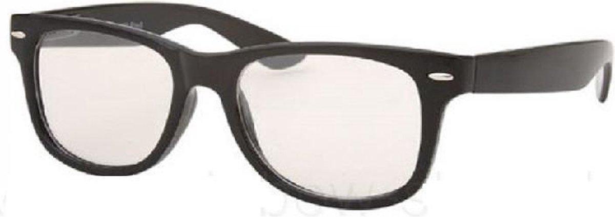 Wayfarer model nerdbril / hipster bril - zwart - Freaky Glasses