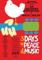 Woodstock peace and music duif Jimi Hendrix poster 61x91.5cm.