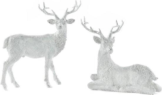 Goodwill Hert-Kersthert Wit-Zilver Alleen nog staand model Lengte 23 cm LET OP prijs per stuk