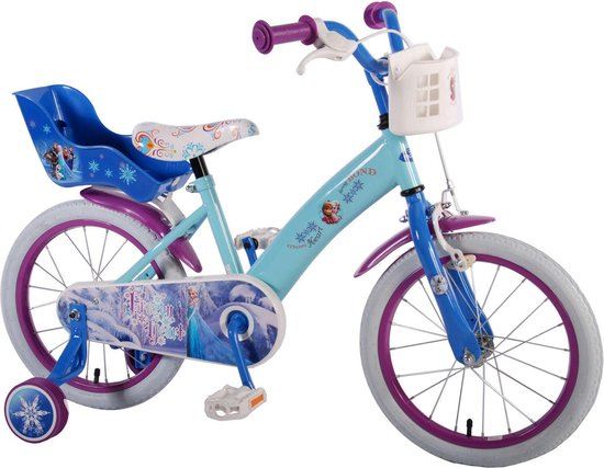 Disney Frozen Kinderfiets - 16 Inch - Meisjes - Blauw - 95% afgemonteerd