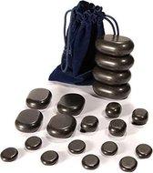 Hot Stone Massage Set - Basalt Hotstone / Hete Massage Chakra Stenen - 20-Delig