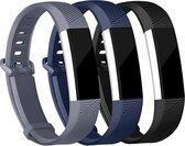 Hardloopzone Siliconen bandjes voor Fitbit Alta (HR) - 3-pack - Grijs Blauw Zwart - Maat S