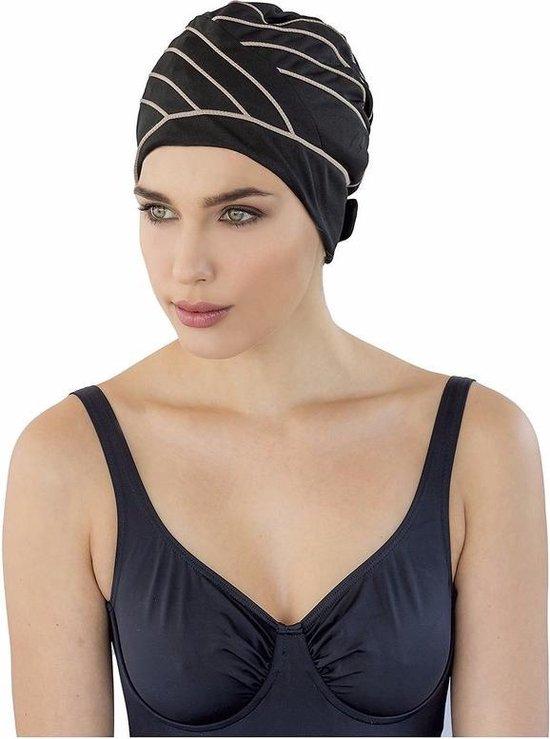 Zwarte badmuts met bruine lijnen voor dames