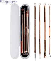 Top Luxe 4 lepels - Mee-eters verwijderen - Professionele kit - Tegen acne en puisten - Comedonendrukker - Comedonenlepel - Meeeter lepel - Beter effect dan maskers of plakkers - Gezichtsverzorging - Voor een verzorgde en gladde huid - roestvrij Blac