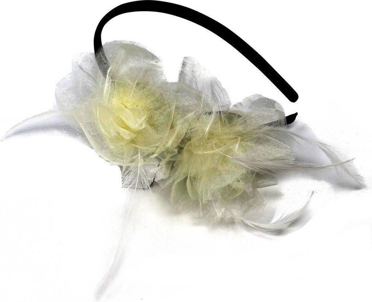 Jessidress Feestelijke Haar Diadeem met Haarbloemen en Veren - Beige - Jessidress