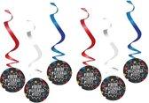 6x Geslaagd/afgestudeerd hangdecoraties 110 cm - Rotorspiralen - Examenfeest - Afstudeerfeestje versiering