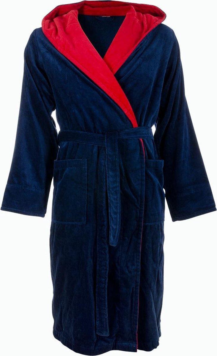 Blauwe badjas met capuchon XL/XXL - Badrock
