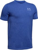 Under Armour Cotton SS Jongens Sportshirt - Royal Medium Heather - Maat 140