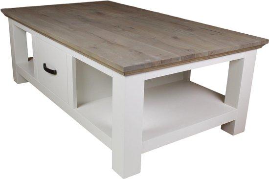 HSM Collection Salontafel Provence - 130x75 cm - grijs eiken/wit - HSM Collection