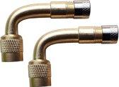 Haaks ventiel opzetstuk / verlengstuk hulp (set van 2 stuks) voor eenvoudig oppompen banden, voor auto, motor, etc.