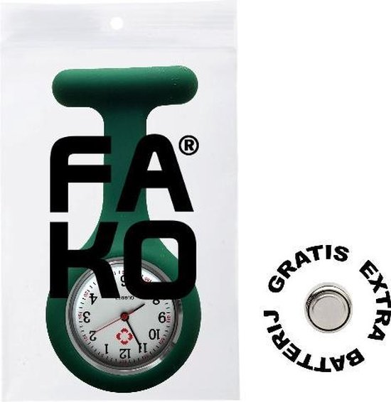 Fako® - Verpleegstershorloge - Zusterhorloge - Siliconen Uni - Donkergroen - Fako®