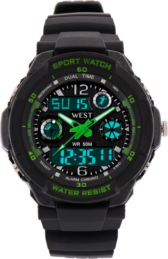 West Watch – multifunctioneel kinder sport horloge - model Storm – Chronograaf – Shockproof - Digitaal/Analoog - Groen
