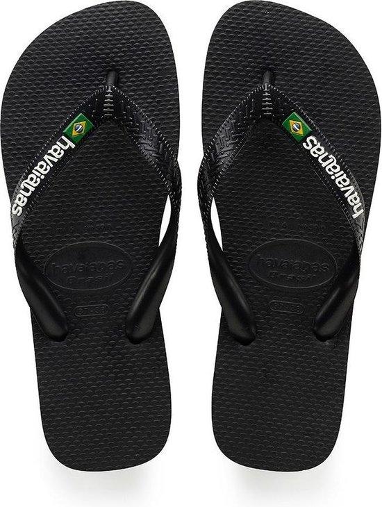 Havaianas Brasil Logo Unisex Slippers - Black - Maat 43/44
