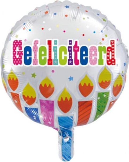 Folie ballon rond 46 cm groot met tekst gefeliciteerd