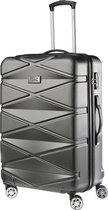 TravelZ - Diamond - Grote Reiskoffer 76cm - TSA Reistrolley ABS - Volledig gevoerd met dubbele wielen - Anthracite/Zwart