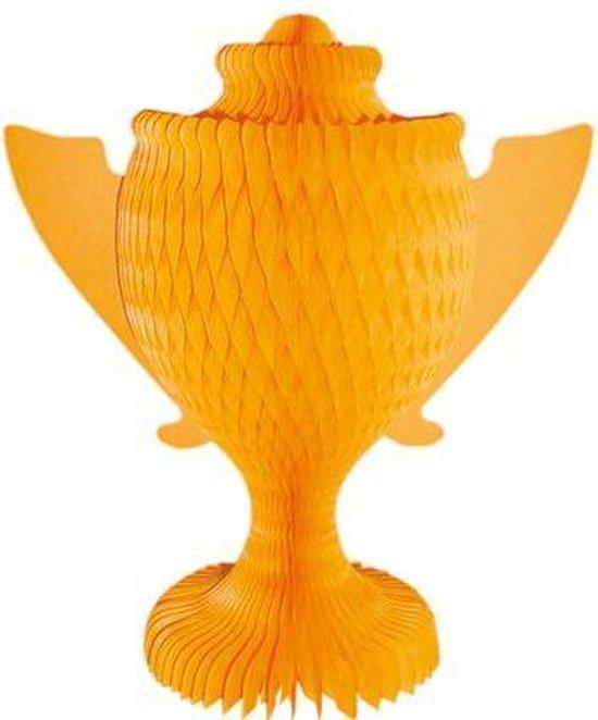 Oranje voetbal cup van papier