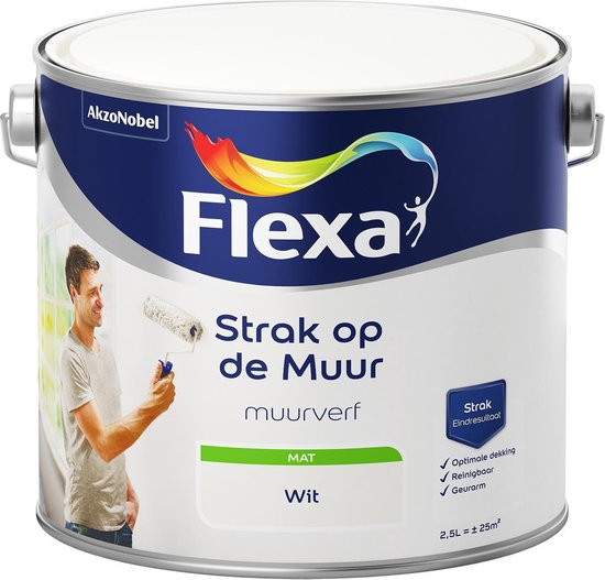 Flexa Strak op de muur Muurverf - Mat - 2,5 liter - Wit