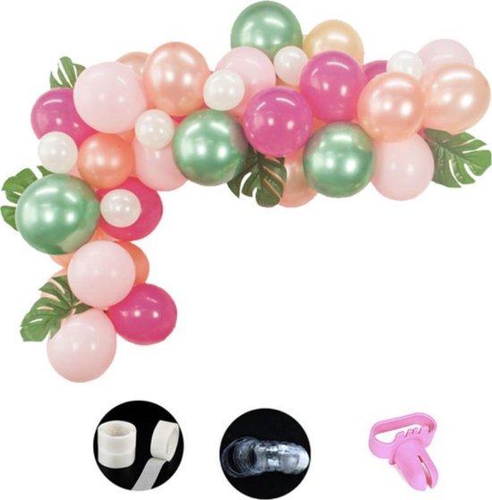 Luxe Ballonnen Boog Roze Groen Wit Rose Gold - 71 Stuks – Confetti Ballonnenset Helium - Ballonnenboog Hawaii Incl. Palmbladeren!