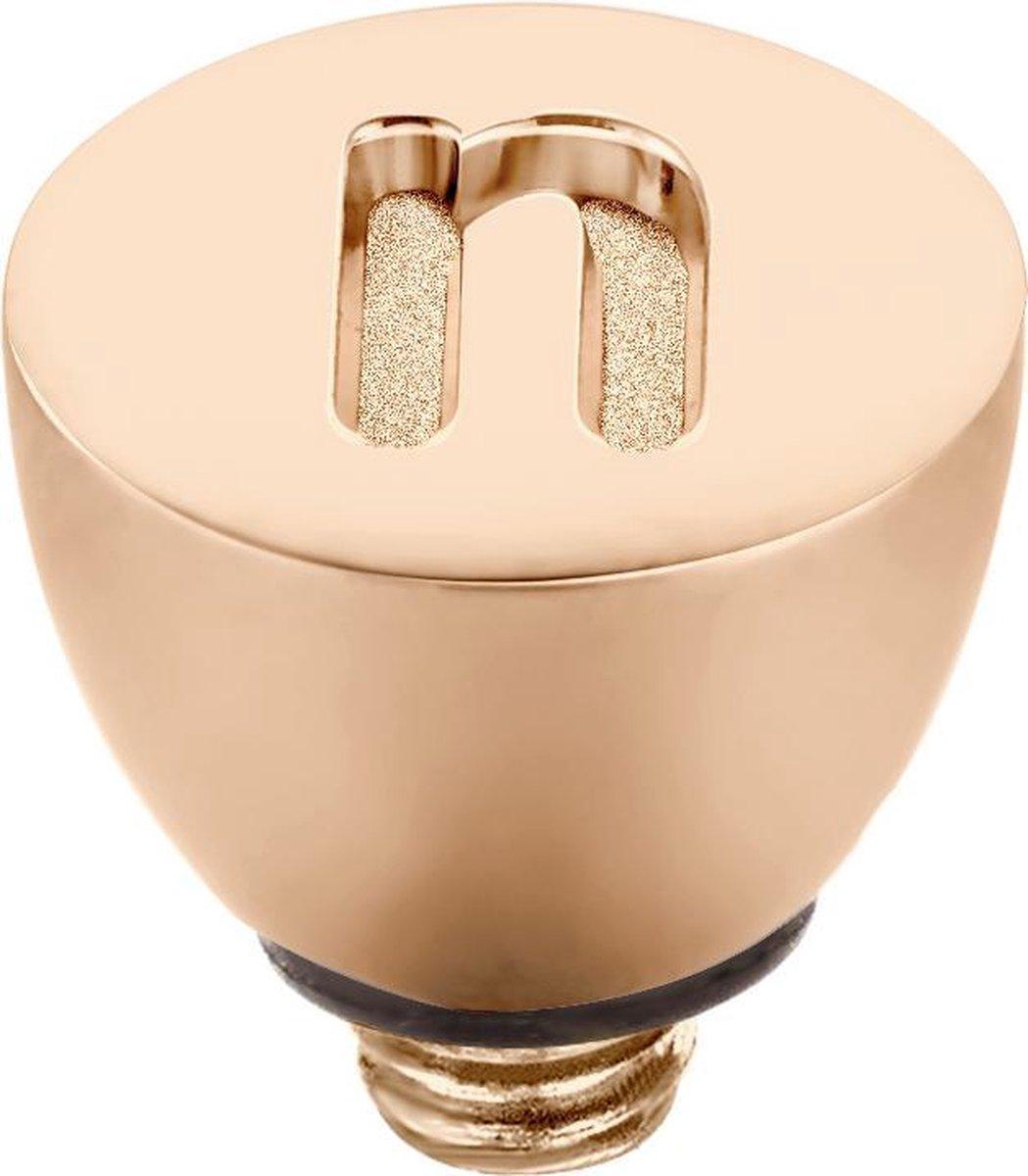 Melano Twisted steentje - letter N - dames - roségoudkleurig - 6 mm - Melano Jewelry