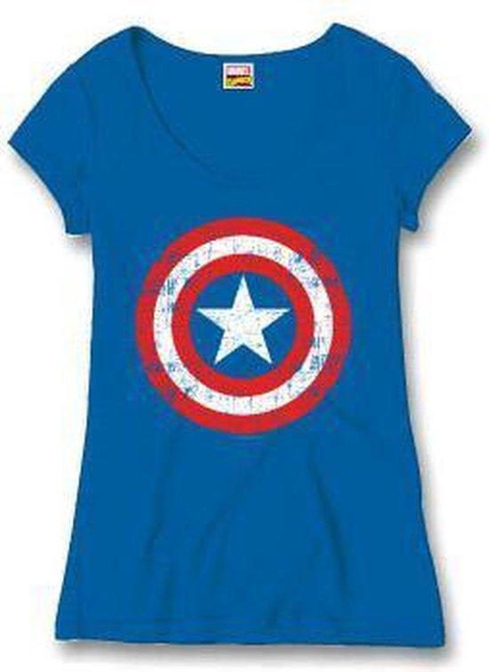 Captain America - Cracked Shield Girls Vrouwen T-Shirt - Blauw - XL