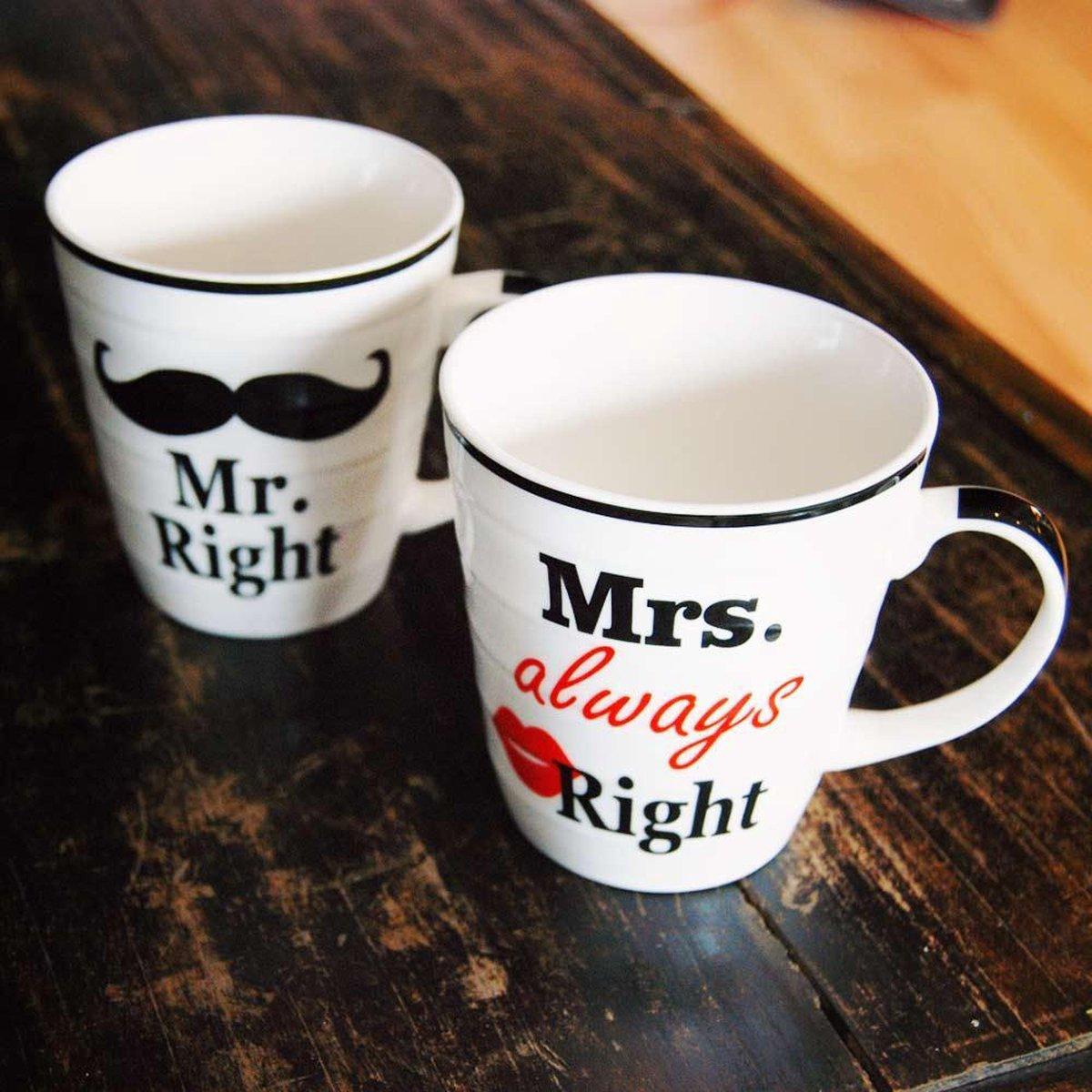 Mr. & Mrs. Right bekers - Beker - 2 Stuks - Out of the Blue