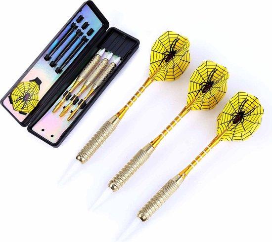 Afbeelding van het spel #DoYourDart - 3x Softtip dartpijlen - ijzeren barrel - aluminium shafts, 6x extra flights incl. Dartetui - 17,7g totaal gewicht pijlen - goudkleurig