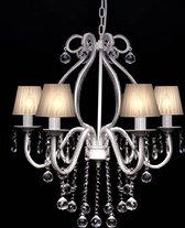 vidaXL - Maria Theresa - Kroonluchter - 6-armig met lampenkapjes - Wit