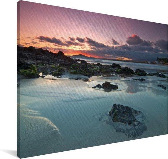 Zonsondergang bij de Galapagoseilanden Canvas 180x120 cm - Foto print op Canvas schilderij (Wanddecoratie woonkamer / slaapkamer) XXL / Groot formaat!