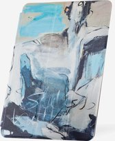 Apple iPad Hoes - Smart Cover - Voor de iPad Air 2 - Kunst 'Abstract Artistiek Lichtblauw en Grijs' Zwart - Uniek design