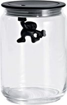 Alessi Gianni - Glazen pot met deksel 15 cm - Zwart