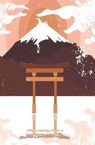 Japanese shrine with mountain in orange
