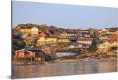 Huizen bij IJsfjord van Ilulissat Diskobaai in Groenland Aluminium 60x40 cm - Foto print op Aluminium (metaal wanddecoratie)