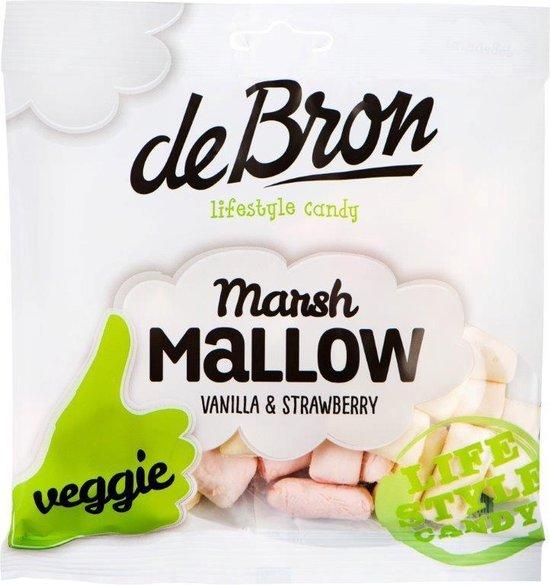 De Bron - Lifestyle Candy Marshmallow Veggie - Vegetarische Marshmallows / Snoep / Spekjes - Vanille & Aardbei - 75 Gram - 1 Zak