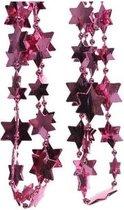 Kerstslinger sterren kralen fuchsia roze 270 cm - Guirlande kralenslingers - Fuchsia roze kerstboom versieringen