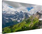De Zwitserse Alpen met daarop de bekende berg Schilthorn Canvas 90x60 cm - Foto print op Canvas schilderij (Wanddecoratie woonkamer / slaapkamer)