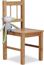 relaxdays - kinderstoel bamboe -  voor bloempotten - houten stoel voor kinderen