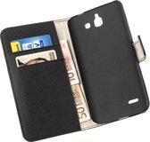 LELYCASE Bookcase Zwart Flip Wallet Hoesje Huawei Ascend G730