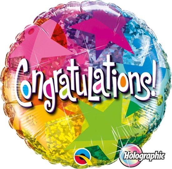 Folieballon - Congratulations - Sterren - 46cm - Zonder vulling