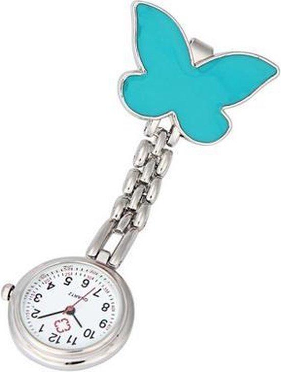 Treasure Trove® Verpleegstershorloge Blauwe Vlinder – Zusterhorloge – Horloge Verpleegster Dames – Clip – 25mm