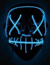 Elite - Blauw lichtgevend led masker voor volwassenen - Maskers > LED maskers