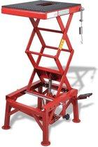 Robuuste Motorlift 135KG Rood met Voetpedaal - Motorfiets lift - Bromfiets lift - Motor heftafel - Motorbrug
