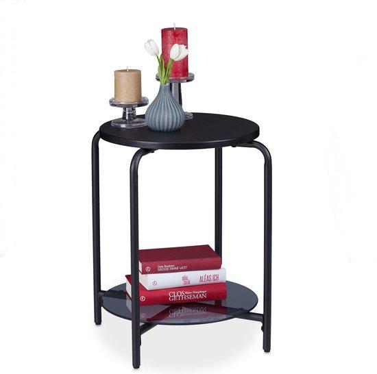 relaxdays bijzettafel rond - 2 etages - steen look - salontafel - nachtkastje - zwart
