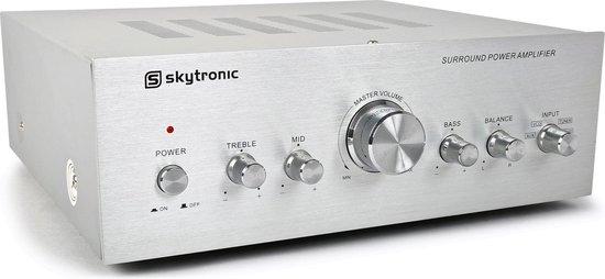 Versterker - SkyTronic versterker stereo 2x 200W zilver met 4 ingangen
