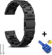 Metalen Armband Voor Garmin Vivoactive 4 Horloge Bandje - Schakel Polsband Strap RVS - Met Inkortset - Small / Large - Zwart