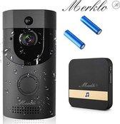 Merklo® Video deurbel - Draadloos – inclusief batterijen en ontvanger - App via Android & iOs - Blck edition - Wijde hoek camera Deluxe - Intercom - bewegingssensor - Tweewegs audio - Nachtmodus functie - Opslaan in cloud - Ring bel - slimme deurbel