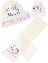 Hello Kitty winterset - Handschoenen, Muts en Sjaal - Roomwit - 50 cm - Kindermaat S