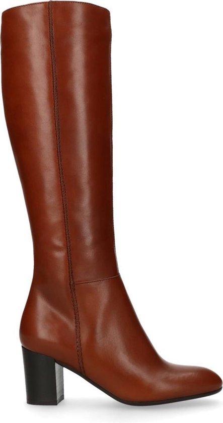 | Manfield Dames Cognac hoge leren laarzen met