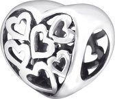 Hearts bead | Hart | Bedel | Zilverana | geschikt voor Biagi , Pandora , Trollbeads armband | 925 zilver