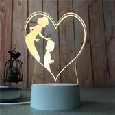 3D Led Nachtlamp - Led Lamp - Moeder Hartje - Kinderkamer - Slaapkamer - Illusie Lamp - Nachtverlichting Voor Kinderen - Bureaulamp - 7 LED Kleuren - Touch Knop